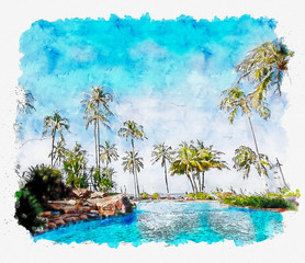 watercolor and illustration of tropical beach resort