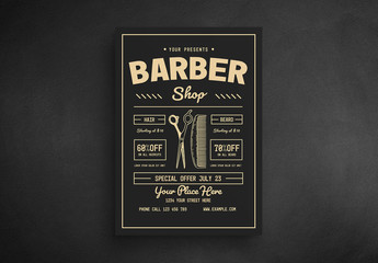 Barber Shop Flyer Layout with Illustrations