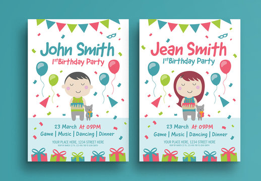 Colorful Birthday Party Flyer Layout