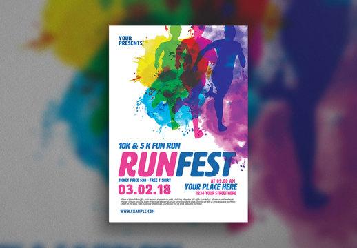 Watercolor Marathon Flyer Layout