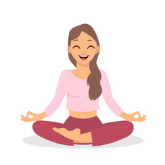 Girl doing yoga meditation isolated on white background. Young woman making meditation in lotus pose. Meditation yoga outdoor. Vector stock.