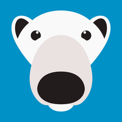 polar bear face  vector illustration flat style  front