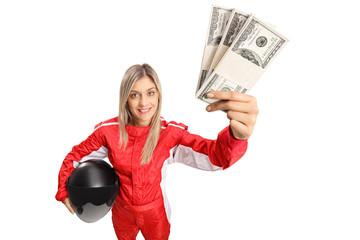 Door stickers Motor sports Female racer with money bundles