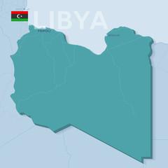 Verctor Map of cities and roads in Libya.