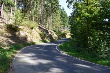 Straße durch die Eifel im Herbst