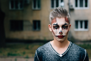 Wallpaper for desktop. Young stylish guy with a beautiful make-up
