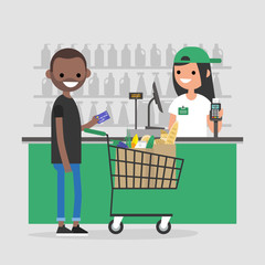 Supermarket register counter. Cashier. Grocery store. A client making a payment with a credit card. Daily life. Flat editable vector illustration, clip art