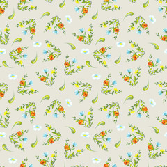 Pattern of watercolor green leaves and twigs, summer orange, blue and yellow flowers