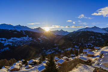 Wall Mural - Sunrise over Ski Resort of Thyon Les Collons,  in the Night, 4 valleys, Valais canton, Switzerland