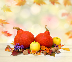 Pumpkin, apples, walnuts, acorns, red oak leaves, yellow maple leaves, berries and flowers on white wooden table on autumnal blur natural background with space for text. Thanksgiving