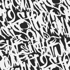 Vector graffiti grunge tags seamless pattern, print design.