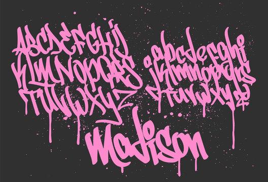 Marker Graffiti Font handwritten Typography vector illustration