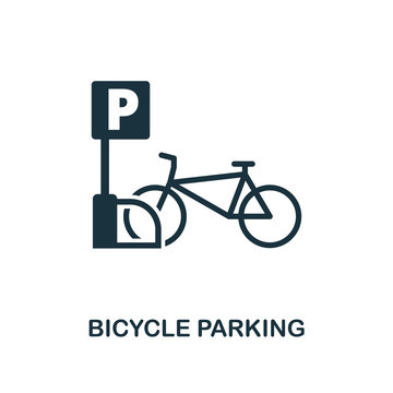 Bicycle Parking icon. Monochrome style design from city elements icon collection. UI. Pixel perfect simple pictogram bicycle parking icon. Web design, apps, software, print usage.