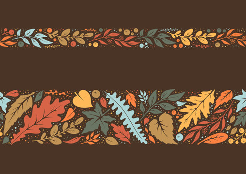 Autumn hand painted seamless borders