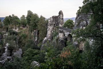 Landscapes of Saxon Switzerland - is the German part of Elbe Sandstone Mountains. Bastei bridge.