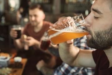 Bearded man drinking tasty beer in pub