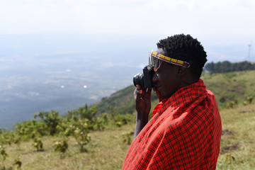 Maasai Man with a camera