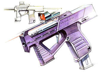 Picture of an exclusive automatic weapon submachine gun for melee.