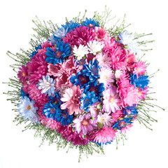 Autumn floral beautiful colorful bouquet on white background. Colored asters and chrysanthemums. Flat lay, top view