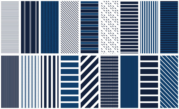 Navy stripe seamless pattern set. 18 repeating patterns for fabric, backgrounds, apparel, paper, scrapbooking and more. Blue and white, classic, retro geometric stripe prints. Classic, preppy, retro.