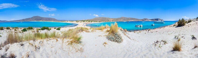 Amazing tropical sandy beach of Simos on Elafonissos island, Peloponnese, Greece.