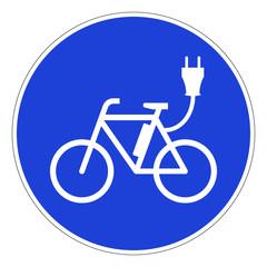E-Bike Schild blau
