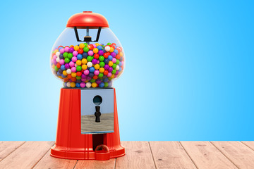 Gumball machine on the wooden background. 3D rendering