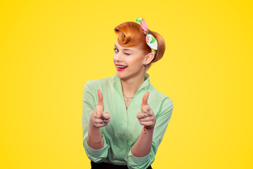 Hey you! Woman pointing index fingers gesture