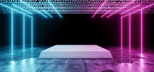 Dark Futuristic Sci-Fi Modern Stage Construction And White Floor With Stairs With Purple And Blue Glowing Neon Lights With Concrete Floor With Water And Reflections Club Concept 3D Rendering
