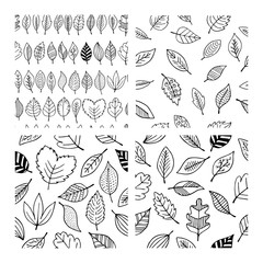 Seamless patterns of autumn leaves. Elegant and beautiful leaflets and plant elements.