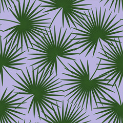 green palm leaves on a purple background livistona rotundifolia palm tree natural exotic tropical hawaii seamless pattern vector