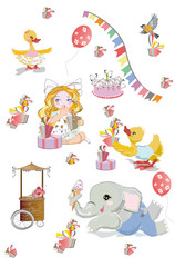 Vector set with cute funny animals in cartoon style. Ducks, elephant, birds and rabbits etc. Birthday elements.