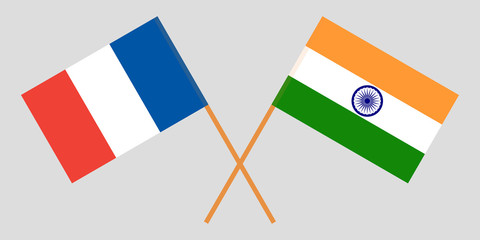 France and India. French and Indian flags. Official colors. Correct proportion. Vector