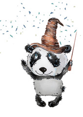 Watercolor with a funny cartoon panda in the role of a wizard. Illustration executed in traditional chinese style, isolated on white background.