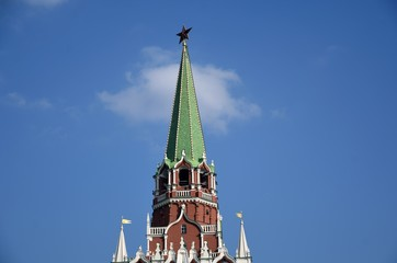 Trinity tower of Moscow Kremlin. Color photo.