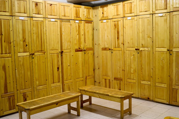 Room, locker room for workers with individual lockers for changing clothes in an industrial plant