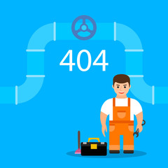 Page 404 with plumber. Web oops error or not found page
