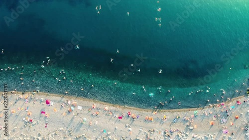 Picturesque aerial timelapse of beach life in Sochi view