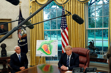 U.S. President Trump holds an Oval Office meeting on preparations for hurricane Florence at the White House in Washington