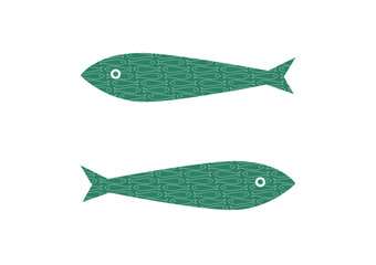 Two iconic sardines  filled with a sardines pattern. Vector illustration