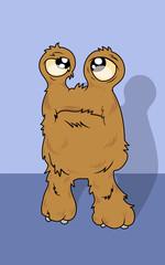 Cute hairy monster in cartoon style. Vector illustraion