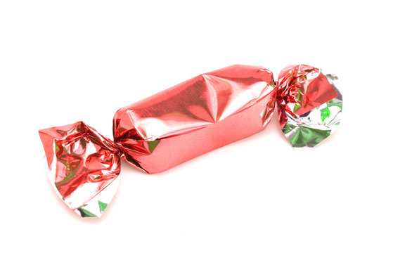 Red Wrapped Candy on a White Background