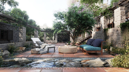 old alcove view with tropical garden after rain concept photo background