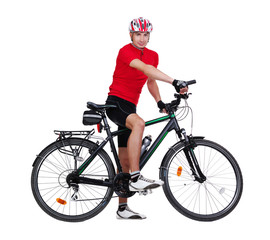 Full length side view picture of a cyclist sitting on his bicycle