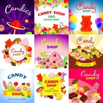 Sweet candy banner set. Cartoon illustration of sweet candy vector banner set for web design