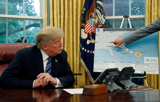 U.S. President Trump holds an Oval Office meeting on hurricane preparations at the White House in Washington