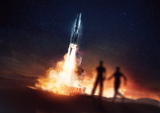 People watching a rocket launching into space from a launch pad. 3D Illustration