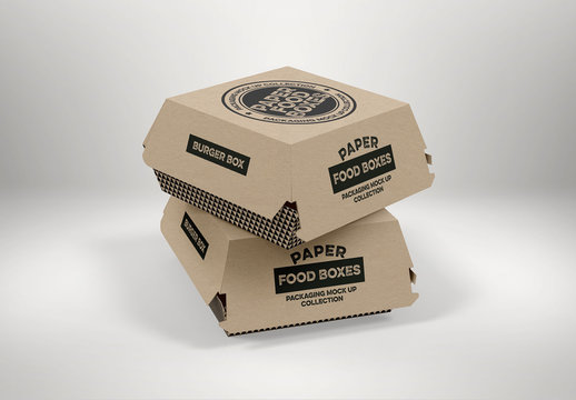 2 Stacked Takeout Food Boxes Mockup