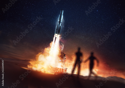 People Watching A Rocket Launching Into Space From A Launch Pad 3d