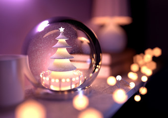 A Christmas tree Snow Globe on top of a fireplace shelf surrounded by fairy lights. 3D Illustration.